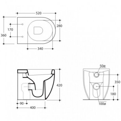 Pristatomas klozetas Kerasan FLO 3116 - 52cm su SLIM  soft close dangčiu 2