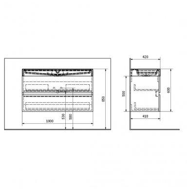 Vonios spintelė Erra Largo 100x42cm balta blizgi su praustuvu 3