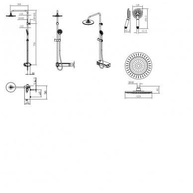 Termostatinė virštinkinė dušo sistema LIAM 14