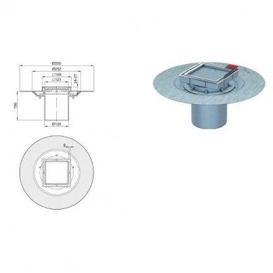 Trapas ACO Easy Flow su viršutine dalimi plytelei įklijuoti 50 mm 3