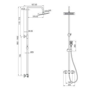 Virštinkinė termostatinė dušo sistema Deante Alpinia 2