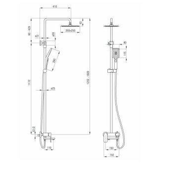 Virštinkinė vonios-dušo Sistema su snapu Deante Alpinia 2
