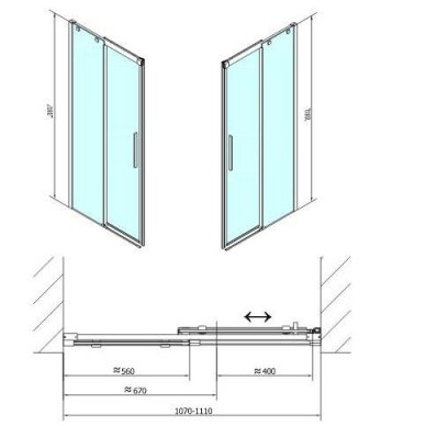 Dušo durys į nišą Polysan ALTIS LINE