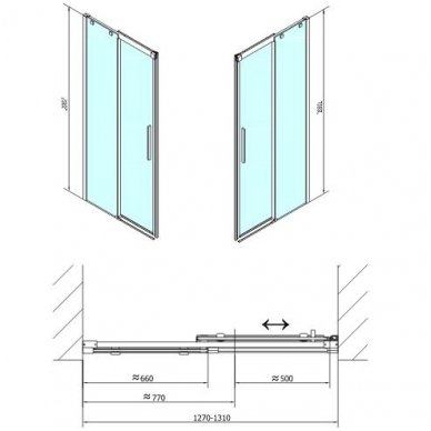 Dušo durys į nišą Polysan ALTIS LINE 6