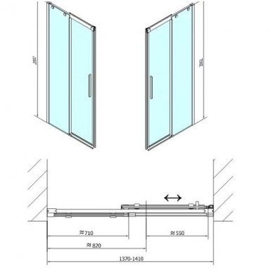 Dušo durys į nišą Polysan ALTIS LINE 7