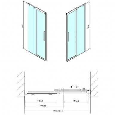 Dušo durys į nišą Polysan ALTIS LINE 9