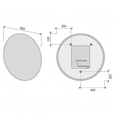 Apvalus veidrodis su LED apšvietimu 2
