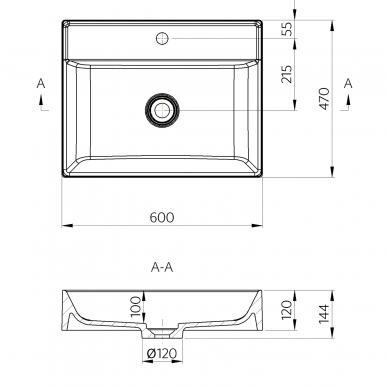 Lieto akmens baldinis praustuvas Sapho 60x47 cm 6