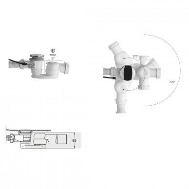 Vonios sifono alkūnė su veržlė 3