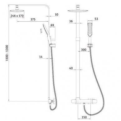 DEANTE Abelia dušo sistema su termostatiniu maišytuvu 3