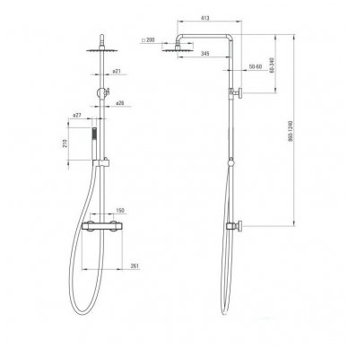 DEANTE Begonia dušo sistema su termostatiniu maišytuvu 2