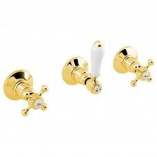 Dušo maišytuvas 2-jų išėjimų Antea aukso spalvos su balta rankenėle
