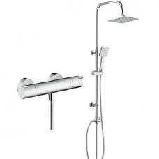 Dušo termostatinis maišytuvas Hansgrohe Ecostat su dušo sistema Deante Floks