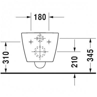 Duravit ME by Starck Compact Rimless pakabinamo unitazo su lėtai nusileidžiančiu dangčiu komplektas 7