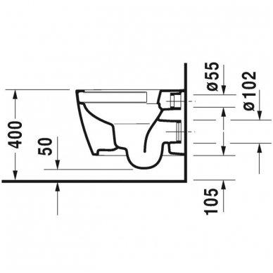 Duravit ME by Starck Compact Rimless pakabinamo unitazo su lėtai nusileidžiančiu dangčiu komplektas 6