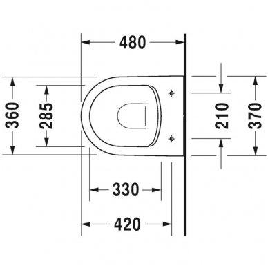 Duravit ME by Starck Compact Rimless pakabinamo unitazo su lėtai nusileidžiančiu dangčiu komplektas 5