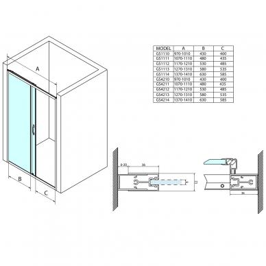 Dušo durys į niša Gelco Sigma Simply 120cm, matinis stiklas 2