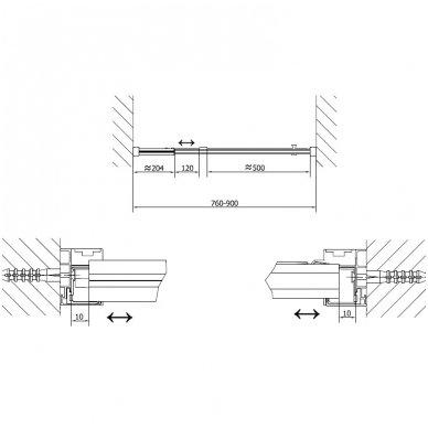 Dušo durys į nišą Polysan Easy Line 760-900mm 7