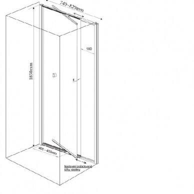 Dušo durys nišai Aqualine Amico G70 11