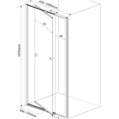 Dušo durys nišai Aqualine Amico G80 11