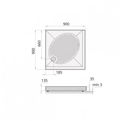 Dušo padėklas PAA Art 90x90cm kvadratinis 2