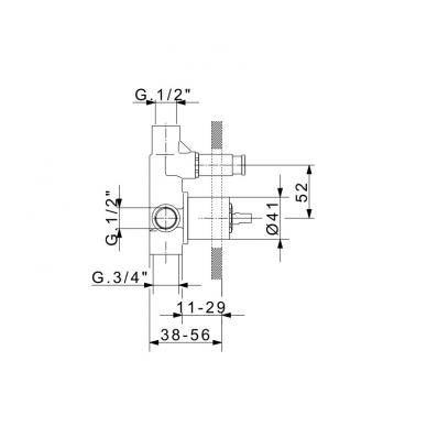 FlexDoccia Sektor potinkinis juodas matinis dušo komplektas su 30x30 dušo galva 2