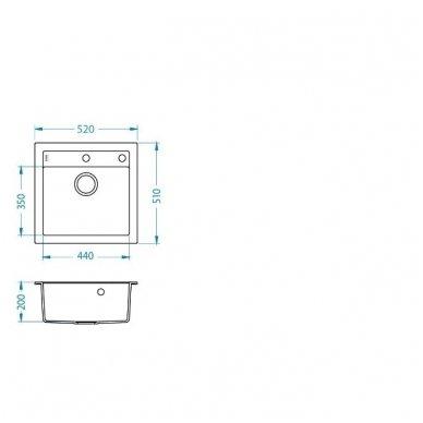 Granitinė Plautuvė Alveus Formic 20 Balta Metalic 2
