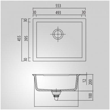 Granitinė Plautuvė MADERA 56 Juoda Metalic 2