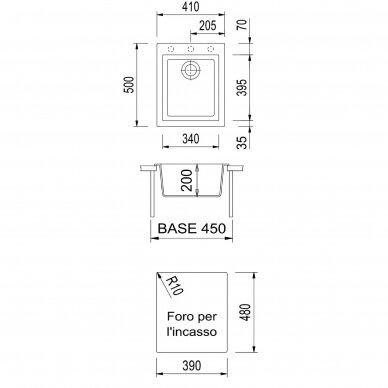 Granitinė plautuvė PLADOS ONE ON4110 pilkos metalik spalvos 2