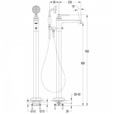 Grindinis vonios maišytuvas Omnires Armance AM5233 CR 2