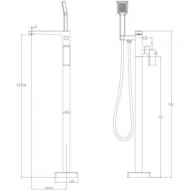 Grindinis vonios maišytuvas Omnires Parma PM7433 CR 2