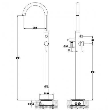 Grindinis vonios maišytuvas Omnires Y1233CR 2