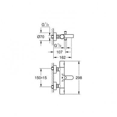 Grohe Grohtherm 1000 Cosmopolitan termostatinis vonios/dušo maišytuvas 3