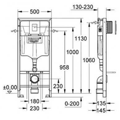 Grohe Rapid SL klozeto rėmo komplektas 38772001 su pakabinamu klozetu Sapho Paco su lėtaeigiu SLIM dangčiu 3