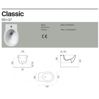 GSI Classic pakabinama bidė 5