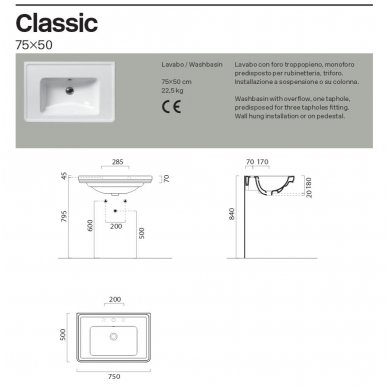 GSI Classic praustuvas 75x50cm 5