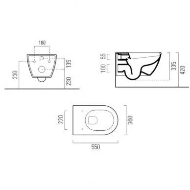 GSI Pura pakabinamas klozetas su SWIRLFLUSH® nuplovimo sistema ir lėtaeigiu dangčiu 6