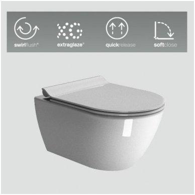 GSI Pura pakabinamas klozetas su SWIRLFLUSH® nuplovimo sistema ir lėtaeigiu Slim dangčiu 3