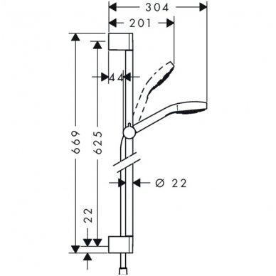 Hansgrohe Croma Select E Vario dušo komplektas 0.65 m 3-jų padėčių 3