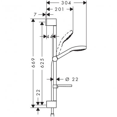 Hansgrohe Croma Select E Vario dušo komplektas 0.65 m su muiline 2