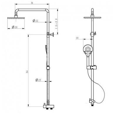 Dušo komplektas su Hansgrohe  termostatiniu maišytuvu ir dušo stovu Sapho MIST 1202-13 8