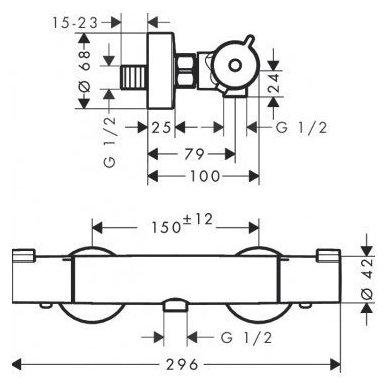 Dušo komplektas su Hansgrohe  termostatiniu maišytuvu ir dušo stovu Sapho MIST 1202-13 7