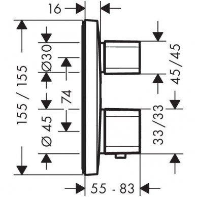 Hansgrohe Metris Ecostat E 15708000 dekoratyvinė dalis potinkiniam termostatinima dušo maišytuvui 2
