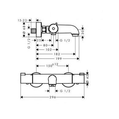 Hansgrohe termostatinis vonios/dušo maišytuvas Ecostat 1001 CL 3
