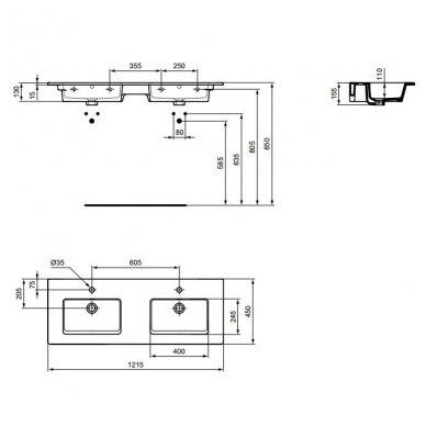 Ideal Standard Tempo dviejų dubenų praustuvas 1215x450 2