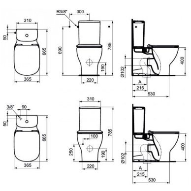 Ideal Standard Tesi pastatomas klozetas su AquaBlade technologija ir dangčiu 2