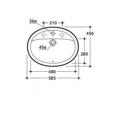Įleidžiamas praustuvas Kerasan Godia 58,5x45cm 2