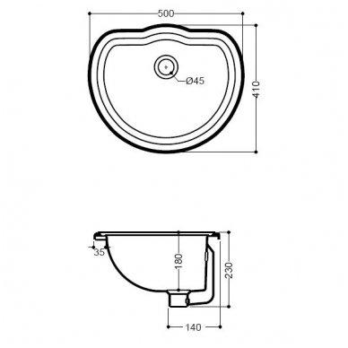 Įleidžiamas praustuvas Kerasan Retro 1031 50x41cm 3