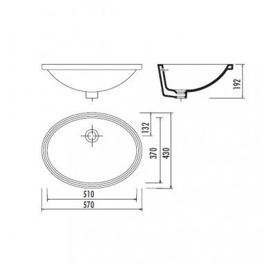 Iš apačios tvirtinamas praustuvas Creavit 57x43cm TP216 2