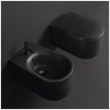 Juodas Kerasan Nolita Rimless pakabinamas wc su Slim lėtaeigiu dangčiu